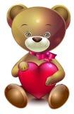 Το Teddy αντέχει με την καρδιά Στοκ Φωτογραφίες