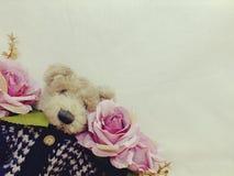 Το Teddy αντέχει με τη δέσμη του διαστημικού υποβάθρου αντιγράφων λουλουδιών που γίνεται με το εκλεκτής ποιότητας χρώμα φίλτρων Στοκ Φωτογραφίες