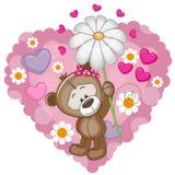 Το Teddy αντέχει με τις καρδιές και το λουλούδι διανυσματική απεικόνιση