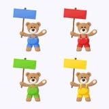 Το Teddy αντέχει με τις χρωματισμένες πινακίδες Στοκ εικόνα με δικαίωμα ελεύθερης χρήσης