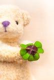 Το Teddy αντέχει με το τριφύλλι παρόν Στοκ Φωτογραφία