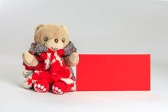 Το Teddy αντέχει την επιθυμία εσείς ευτυχές κινεζικό νέο έτος Στοκ φωτογραφία με δικαίωμα ελεύθερης χρήσης