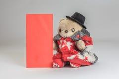 Το Teddy αντέχει την επιθυμία εσείς ευτυχές κινεζικό νέο έτος Στοκ Εικόνα