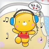 Το Teddy αντέχει τη χαριτωμένη άσκηση με τη μουσική Στοκ Εικόνες