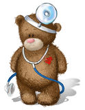 Το Teddy αντέχει τον ακουομέτρη Στοκ φωτογραφία με δικαίωμα ελεύθερης χρήσης