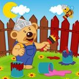 Το Teddy αντέχουν και ο ζωγράφος μελισσών ελεύθερη απεικόνιση δικαιώματος