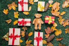 Το Teddy αντέχουν και τα κίτρινα φύλλα φθινοπώρου με τα δώρα Στοκ εικόνα με δικαίωμα ελεύθερης χρήσης