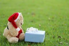 Το Teddy αντέχουν και τα κιβώτια δώρων στο χορτοτάπητα Στοκ φωτογραφία με δικαίωμα ελεύθερης χρήσης