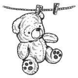 Το Teddy αφορά το σχοινί που χαράσσει τη διανυσματική απεικόνιση Στοκ Φωτογραφία
