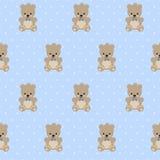 Το Teddy αφορά το άνευ ραφής σχέδιο το μπλε υπόβαθρο σημείων Πόλκα μωρών Στοκ εικόνες με δικαίωμα ελεύθερης χρήσης