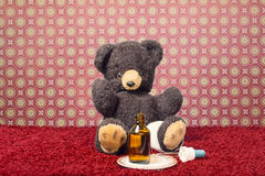 Το Teddybear είναι άρρωστο Στοκ εικόνες με δικαίωμα ελεύθερης χρήσης