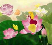 Το Thumbelina κάθεται σε ένα λουλούδι λωτού με τις πεταλούδες απεικόνιση αποθεμάτων