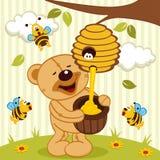 Το Tteddy αντέχει παίρνει τις μέλισσες μελιού Στοκ Φωτογραφία