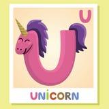 Το U είναι για το μονόκερο u επιστολών Μονόκερος, χαριτωμένη απεικόνιση διανυσματικό λευκό εικόνων ανασκόπησης αλφάβητου ζωικό Στοκ φωτογραφία με δικαίωμα ελεύθερης χρήσης