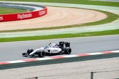 Το Valtteri Bottas οδηγεί το αγωνιστικό αυτοκίνητο του Ουίλιαμς Martini στη διαδρομή για τα ισπανικά Grand Prix Formula 1 Circuit Στοκ φωτογραφία με δικαίωμα ελεύθερης χρήσης