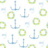 Το Waterclolr κολυμπά τα δαχτυλίδια και το σχέδιο αγκύρων Διογκώσιμο λαστιχένιο παιχνίδι Κολυμπώντας κύκλος τοπ άποψης για τον ωκ διανυσματική απεικόνιση