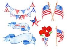 Το watercolor ημέρας μνήμης έθεσε με τις αμερικανικές σημαίες, αστέρια, διακοσμητική ένωση, παπαρούνες, εκλεκτής ποιότητας εμβλήμ ελεύθερη απεικόνιση δικαιώματος