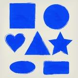 Το Watercolor διαμορφώνει το τρίγωνο παφλασμών, κύκλος, καρδιά, έλλειψη, ορθογώνιο, τετράγωνο, λουλάκι αστεριών Χρωματισμένα στοι Στοκ φωτογραφία με δικαίωμα ελεύθερης χρήσης