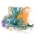 Το watercolor μελανιού χρώματος παφλασμών χρωμάτων απομονώνει την πορφυρή πορτοκαλιά βούρτσα κτυπήματος splatter watercolour aqua Στοκ Φωτογραφίες