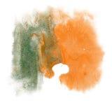 Το watercolor μελανιού χρώματος παφλασμών χρωμάτων απομονώνει την πράσινη πορτοκαλιά βούρτσα κτυπήματος splatter watercolour aqua Στοκ Εικόνες