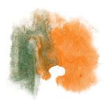 Το watercolor μελανιού χρώματος παφλασμών χρωμάτων απομονώνει την πράσινη πορτοκαλιά βούρτσα κτυπήματος splatter watercolour aqua Στοκ Εικόνα