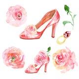 Το Watercolor που τίθεται με τα νυφικά ρόδινα υψηλά τακούνια γυναικείων παπουτσιών, τριαντάφυλλα ανθίζει, χρυσό δαχτυλίδι πολύτιμ απεικόνιση αποθεμάτων