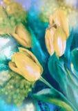 Το Watercolor σύρει τις κίτρινες τουλίπες ο Στοκ Εικόνες