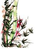 Το Watercolor σύρει του μπαμπού στο ιαπωνικό ύφος Στοκ Φωτογραφία