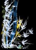 Το Watercolor σύρει του μπαμπού στο ιαπωνικό ύφος Στοκ εικόνες με δικαίωμα ελεύθερης χρήσης