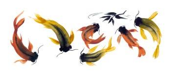 Το Watercolor σύρει των ψαριών στο ιαπωνικό ύφος Στοκ εικόνες με δικαίωμα ελεύθερης χρήσης