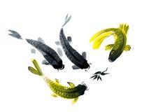 Το Watercolor σύρει των ψαριών στο ιαπωνικό ύφος Στοκ εικόνα με δικαίωμα ελεύθερης χρήσης
