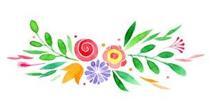 Το Watercolor τα διαφορετικά λουλούδια απεικόνιση αποθεμάτων
