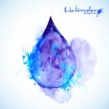 Το Watercolor χρωμάτισε την μπλε διανυσματική πτώση Στοκ εικόνα με δικαίωμα ελεύθερης χρήσης