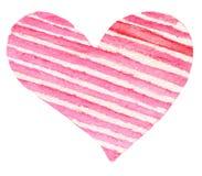 Το Watercolor χρωμάτισε το κόκκινο σύμβολο καρδιών για το σχέδιό σας που απομονώθηκε ove Στοκ εικόνες με δικαίωμα ελεύθερης χρήσης