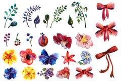 Το Watercolor χρωμάτισε το τόξο και το κόκκινο πράσινο μπλε κίτρινο doodle λουλουδιών στο άσπρο υπόβαθρο που απομονώθηκε Συρμένα  Στοκ φωτογραφίες με δικαίωμα ελεύθερης χρήσης
