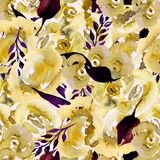 Το Watercolor Floral επαναλαμβάνει το σχέδιο Μπορέστε να χρησιμοποιηθείτε ως τυπωμένη ύλη για το ύφασμα, υπόβαθρο για τη γαμήλια  Στοκ εικόνα με δικαίωμα ελεύθερης χρήσης