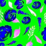 Το Watercolor Floral επαναλαμβάνει το σχέδιο Μπορέστε να χρησιμοποιηθείτε ως τυπωμένη ύλη για το ύφασμα, υπόβαθρο για τη γαμήλια  Στοκ Εικόνες