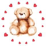 Το Watercolor teddy αντέχει την κάρτα ημέρας του βαλεντίνου Αγίου καρδιών απεικόνιση αποθεμάτων