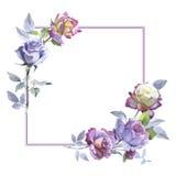 Το Wildflower αυξήθηκε πλαίσιο λουλουδιών σε ένα διανυσματικό ύφος απεικόνιση αποθεμάτων