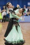 Το Zelenskiy Ivan και Lantuhova Anna εκτελεί το τυποποιημένο πρόγραμμα νεολαία-2 για το εθνικό πρωτάθλημα Στοκ Εικόνες