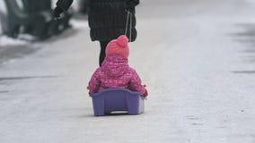 Τράβηγμα μητέρων το έλκηθρο με το παιδί στο πάρκο απόθεμα βίντεο