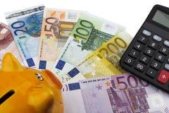 Τράπεζα και ευρώ Piggy (ΕΥΡ) Στοκ φωτογραφίες με δικαίωμα ελεύθερης χρήσης