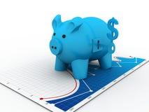 Τράπεζα και κλειδιά Piggy Στοκ Φωτογραφία