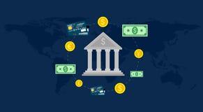 Τράπεζα, παγκόσμια αγορά συναλλάγματος, εμπόριο κατάθεσης, τραπεζικό σύστημα επίσης corel σύρετε το διάνυσμα απεικόνισης απεικόνιση αποθεμάτων