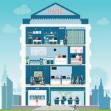 Τράπεζα που χτίζει το εξωτερικό και εσωτερικό αντίθετο γραφείο ελεύθερη απεικόνιση δικαιώματος