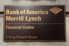 Τράπεζα της Αμερικής Merrill Lynch στο Λονδίνο Στοκ Εικόνες