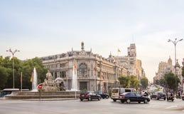 Τράπεζα της Ισπανίας και της πλατείας Cibeles στη Μαδρίτη Στοκ εικόνα με δικαίωμα ελεύθερης χρήσης