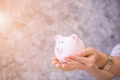 Τράπεζα Piggy ένα εμπορευματοκιβώτιο για τα χρήματα αποταμίευσης Στοκ Εικόνα