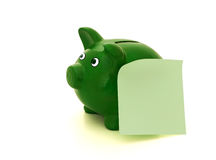 Τράπεζα Piggy με ένα μήνυμα Στοκ Φωτογραφία