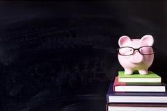 Τράπεζα Piggy με τα γυαλιά και τον πίνακα, έννοια κεφαλαίων κολλεγίων Στοκ Εικόνα